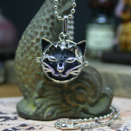 Cat head aroma diffuser necklace with lava stone