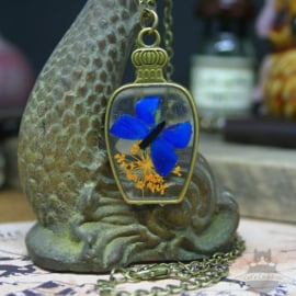Droogbloemen ketting blauwe vlinder op echte bloemen