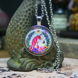 Unicorn necklace with flowers and garland