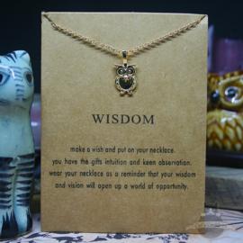 WISDOM spirituele ketting met uil op kaartje