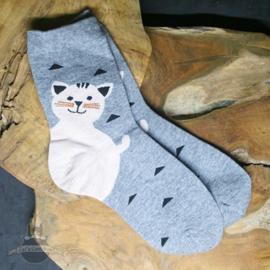 Grijze sokken met grote blije kat maat 36-41