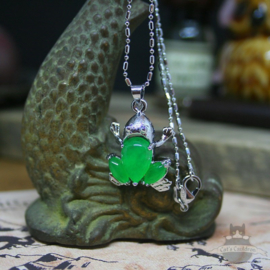 Frog necklace with green stones silver colored pendant