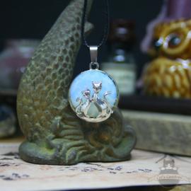 Naturstein Opal Kette mit zwei Katzen