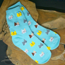 Light blue socks with cat heads size 36-41