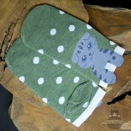 Green sneaker socks with grey cat size 35-40