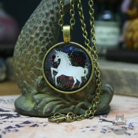 White unicorn necklace bronze colored pendant