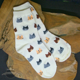 Cream socks with cat heads size 36-41