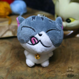 Keyring of plush happy cat licking mouth