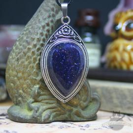 Retro Naturstein Halskette Blaufluss