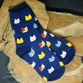 Blue socks with cat heads size 36-41