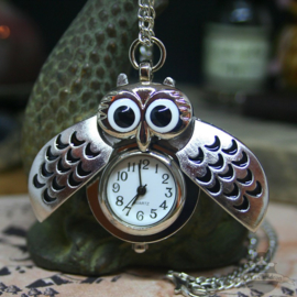 Owl watch silver colored necklace with hidden clock