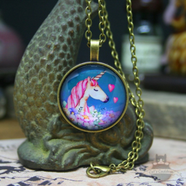 Unicorn necklace with flowers and hearts
