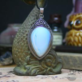 Retro Naturstein Halskette Opal