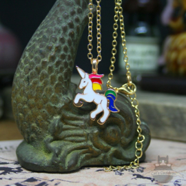 Small prancing unicorn necklace rainbow enameled