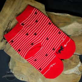 Red striped cat socks with small paw prints size 36-42