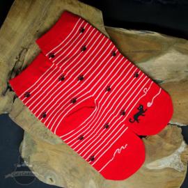 Rode kattensokken gestreept met pootjes mt.36-42