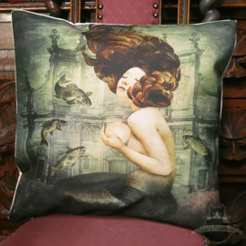 Mermaid holding a large pearl pillowcase
