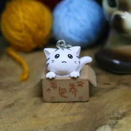 Schlüsselanhänger Adoption weiße Katze in Box
