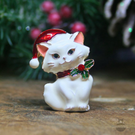 Christmas Brooch white Kitten with Santa hat and bowe