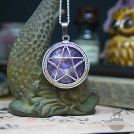Pentagramm Halskette Naturstein Amethyst