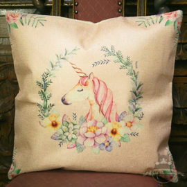 Unicorn with pink manes against a pink background pillowcase
