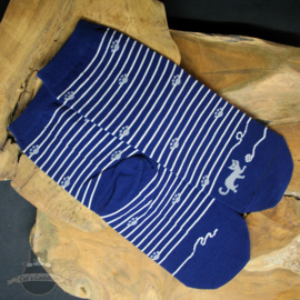 Blue striped cat socks with small paw prints size 36-42