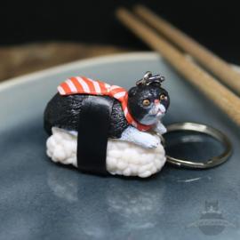 Sushi-Schlüsselanhänger schwarze Katze mit Krawatte