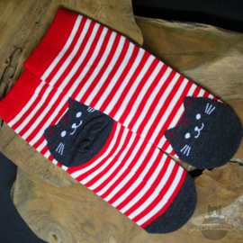 Red striped socks with black cat size 35-39
