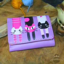 Purple colored wallet with cats