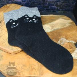 Black cat socks with gray trim size 35-40