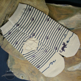 Beige striped cat socks with small paw prints size 36-42