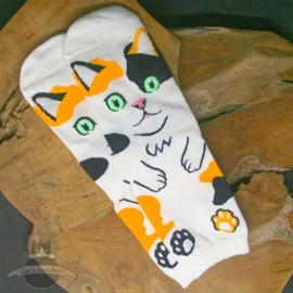 Ecru sokken met grote kat in cartoon stijl mt.35-40