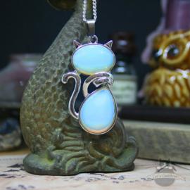 Katze Halskette Naturstein Opal
