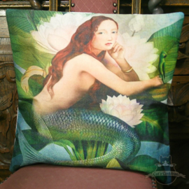 Mermaid with a parrot amongst water lilies pillowcase