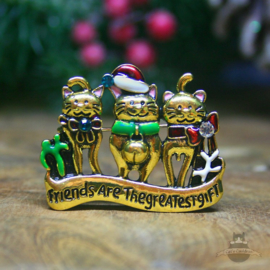 Kerst broche katten Friends Are The Greatest Gift koper
