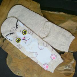 Beige socks with big cat in cartoon style size 35-40