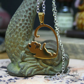 Double heart shaped Valentine cat necklace gold colored BFF