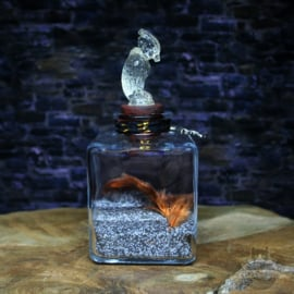 Phoenix Ashes with feathers in jar