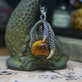 Goth dragonclaw necklace holding a Tiger's Eye