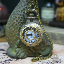Pocket watch old style bronze look with long chain