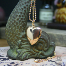 Valtentine heart shaped locket with cat pawprint gold colored