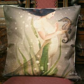 Meerjungfrau mit Seepferdchen Fantasy Kissenbezug