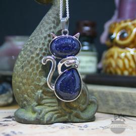 Katze Halskette Edelstein Blaufluss