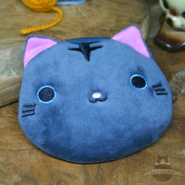 Grey embroided cat head wallet