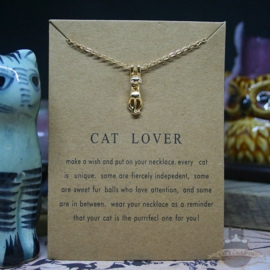 CAT LOVER necklace with gold colored cat on card