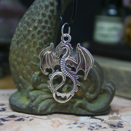 Silver colored dragon necklace
