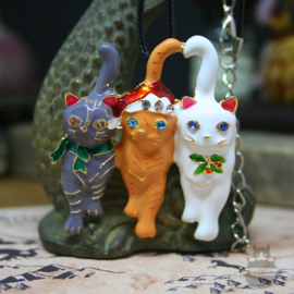 Three cats in Christmas outfit necklace and brooch