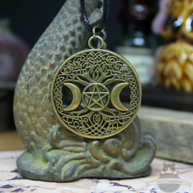 Tree of life necklace with pentagram bronze colored