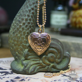 Heart shaped locket with cat pawprint gold colored