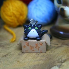 Schlüsselanhänger Adoption schwarze Katze in Box